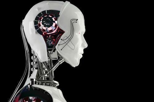 人工智能控制机器人手臂包装盒和削减成本