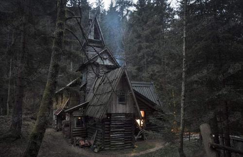 阿方索·阿兰戈在他童年的家旁边建造了一个黑色的小木屋
