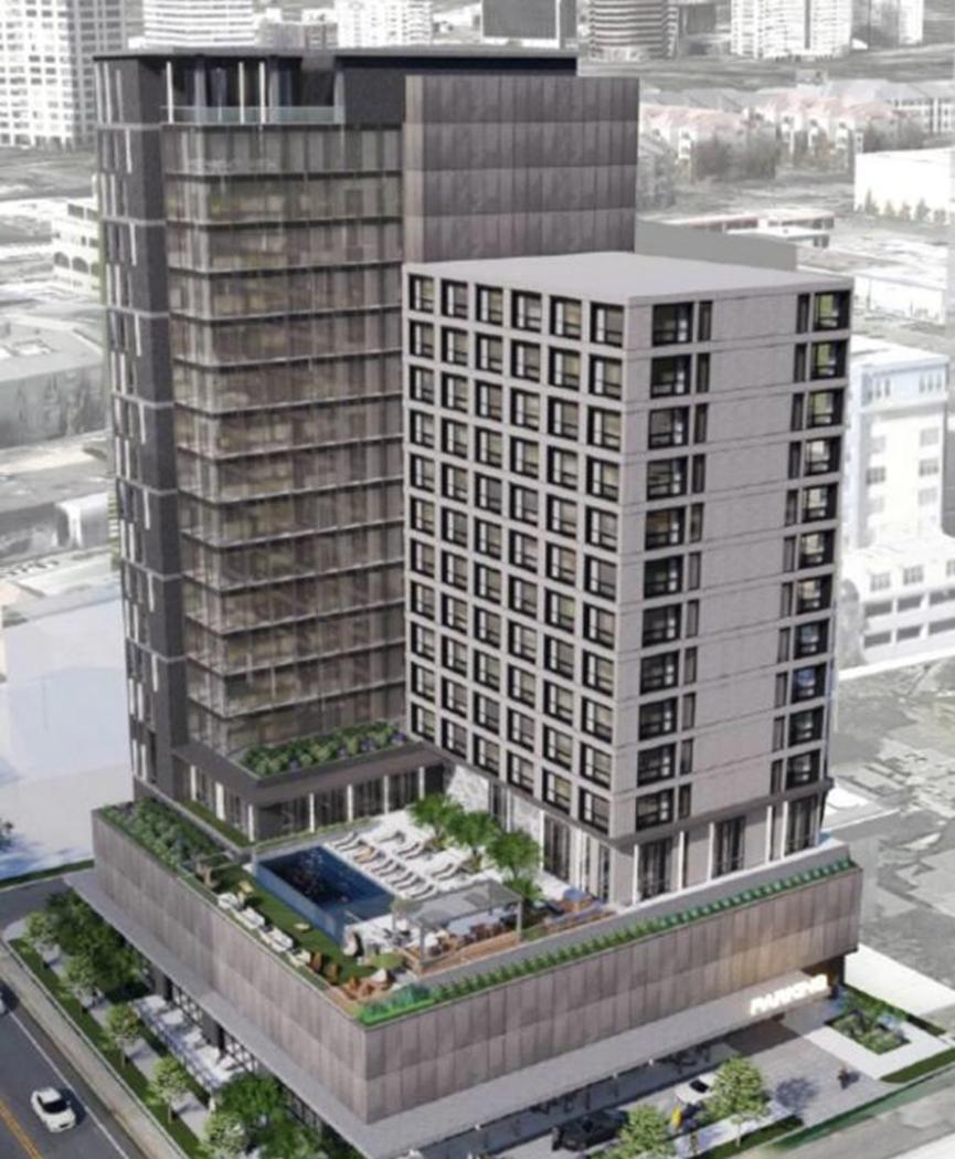 这家19层的酒店计划在Hall Street和Oak Grove开业