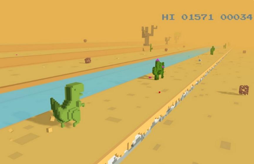 您现在可以以3D模式玩Chrome T-Rex Runner游戏