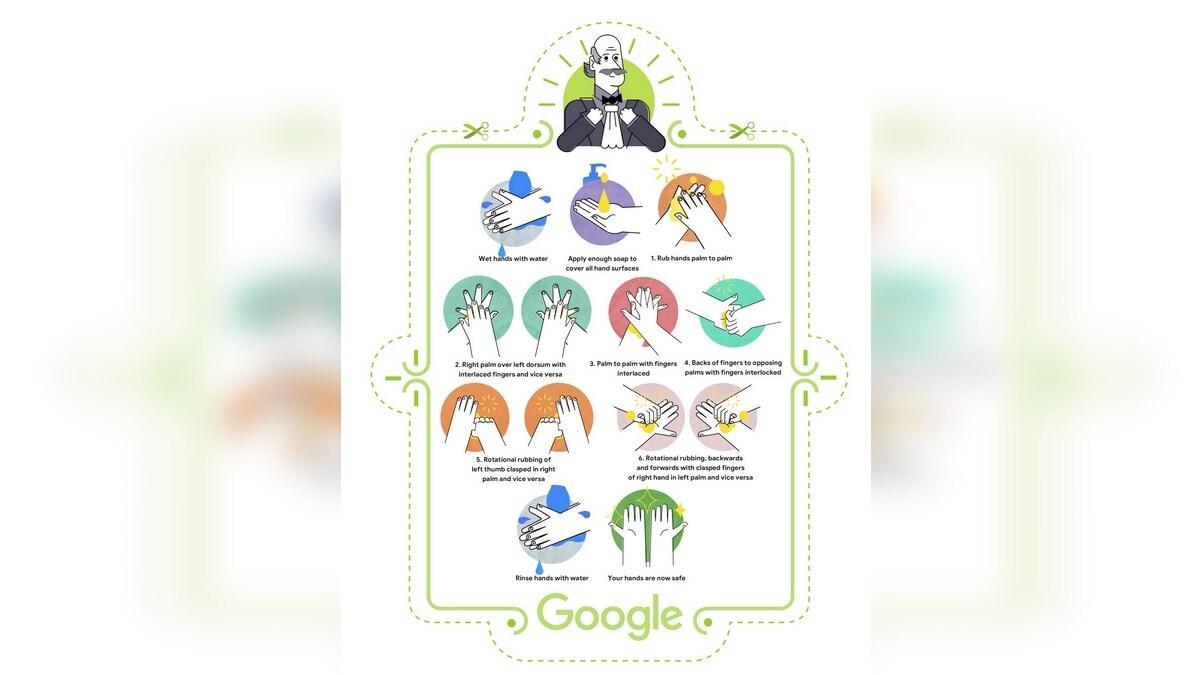 谷歌用Google Doodle纪念Ignaz Semmelweis博士,展示了如何洗手