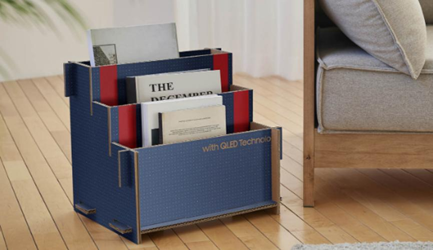 三星推出了一种可成为猫屋的新型环保纸板包装