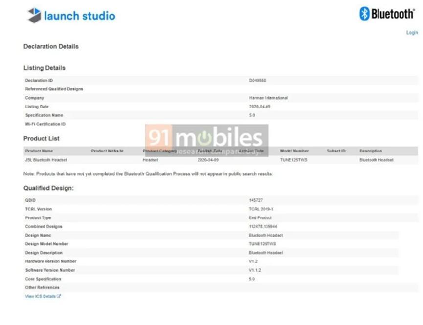 JBL TUNE 125 TWS耳机获得蓝牙认证 即将推出