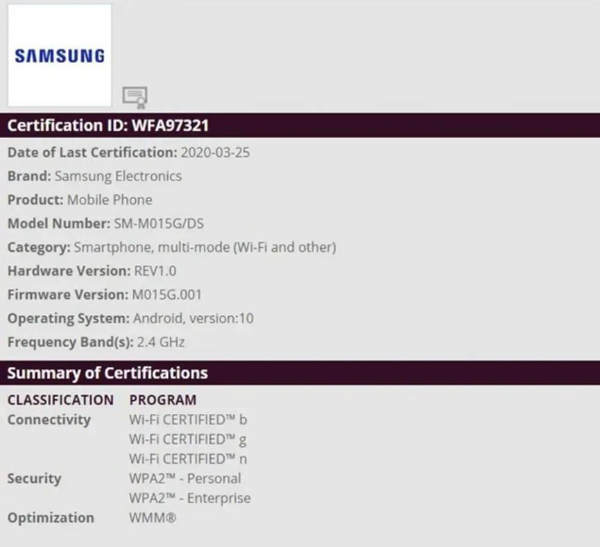 Wi-Fi Alliance网站上发现的三星Galaxy M01可能即将推出