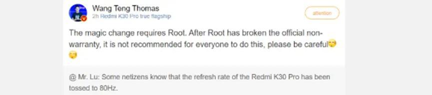 Redmi不建议您将Redmi K30 Pro的刷新率调整到80Hz
