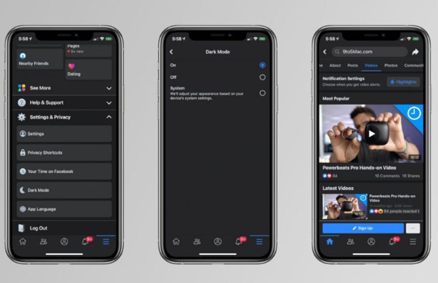 泄漏的屏幕截图显示iOS设备上Facebook的暗模式