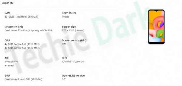 Google Play控制台发现三星Galaxy M01规格