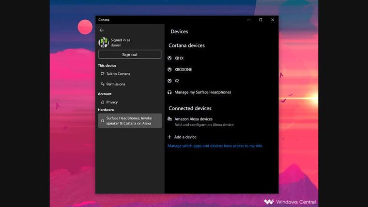 "Cortana Beta更新添加了用于管理Cortana设备的""硬件""部分"