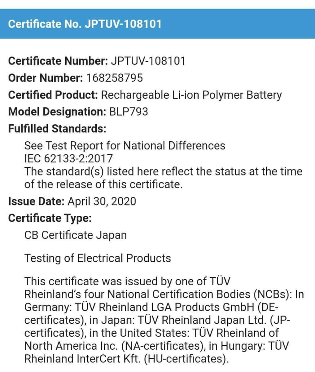 REALME的6000 MAH电池获得TUV认证