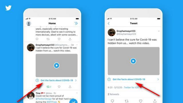 Twitter开始警告用户有关假COVID-19新闻