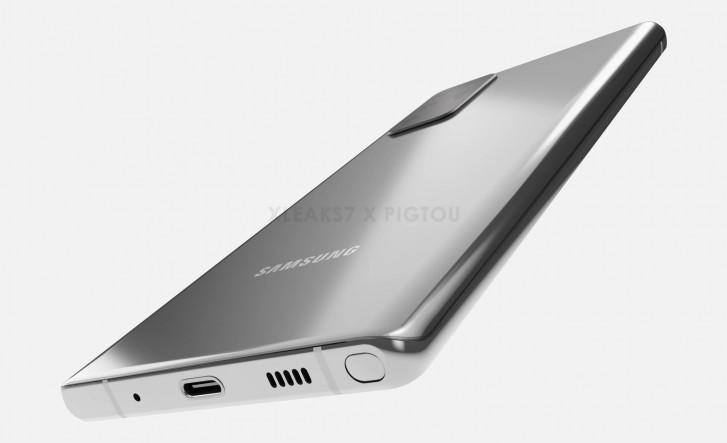 三星Galaxy Note 20 CAD渲染显示镜面设计,大尺寸显示屏和S20超级相机