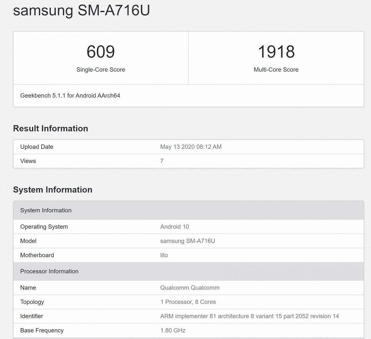 搭载Snapdragon 765的三星Galaxy A71 5G可能会登陆美国