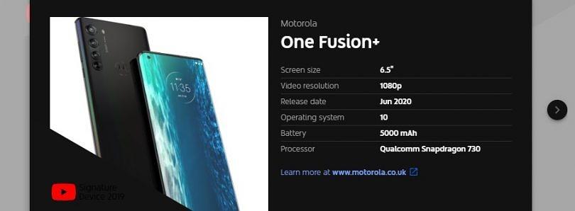 YouTube泄露了摩托罗拉One Fusion +的高通Snapdragon 730、5,000mAh电池和2020年6月发布日期