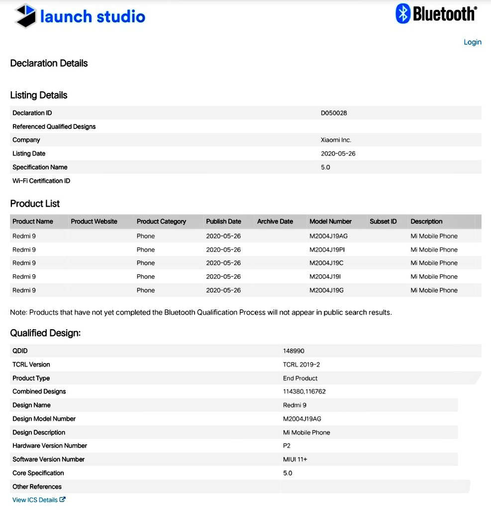 Redmi 9发布可能在六月,获得蓝牙SIG批准