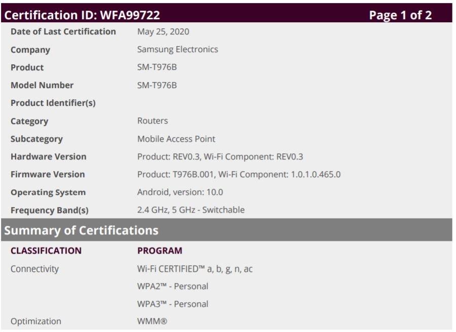 三星Galaxy Tab S7 + 5G取得Wi-Fi认证