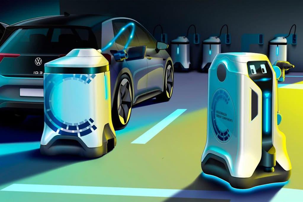 大众展示了移动机器人充电器