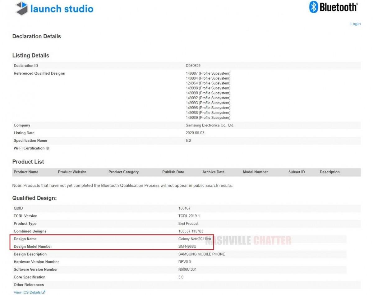 三星Galaxy Note 20 Ultra名称出现在蓝牙认证中