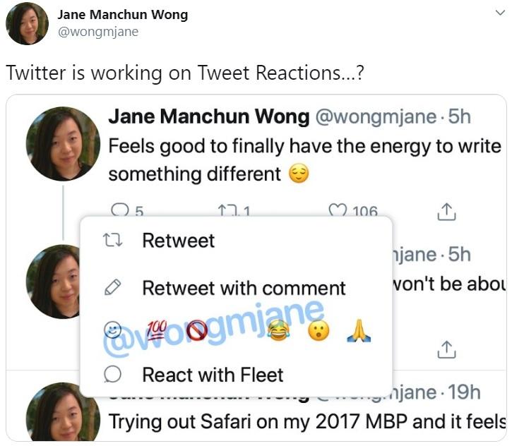 泄漏的新Twitter功能表明即将发布Tweet Reactions
