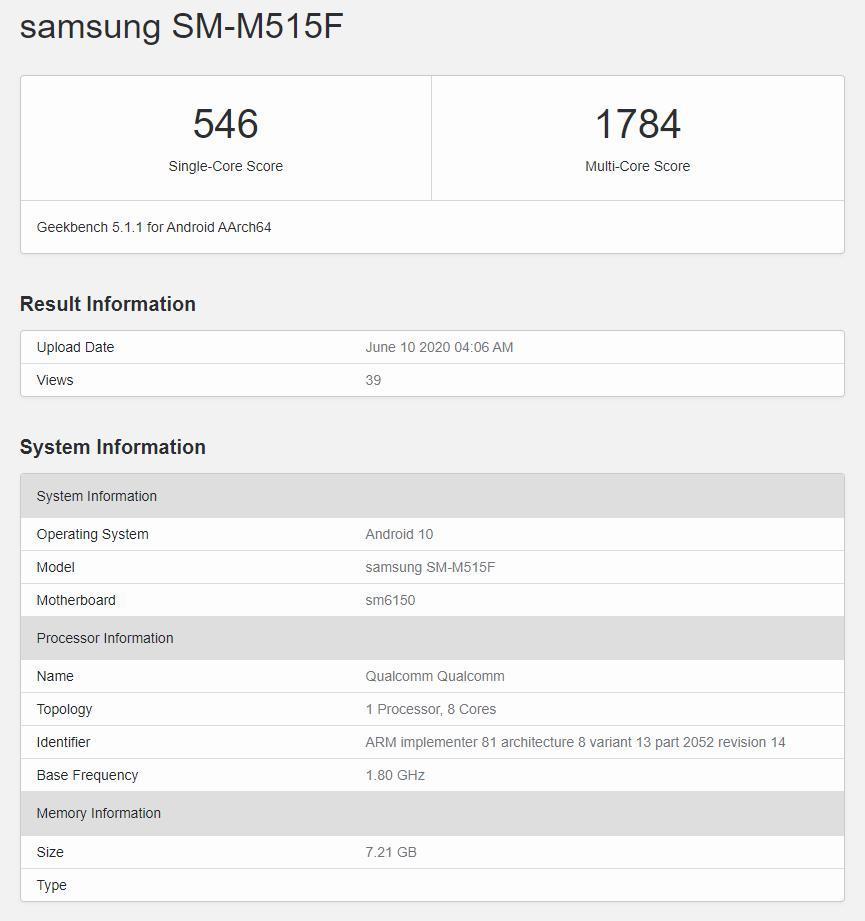 Galaxy M51在Geekbench上以Snapdragon 675和8GB RAM为基准