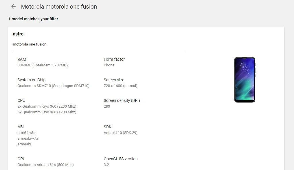摩托罗拉One Fusion出现在Google Play控制台上,但规格不同