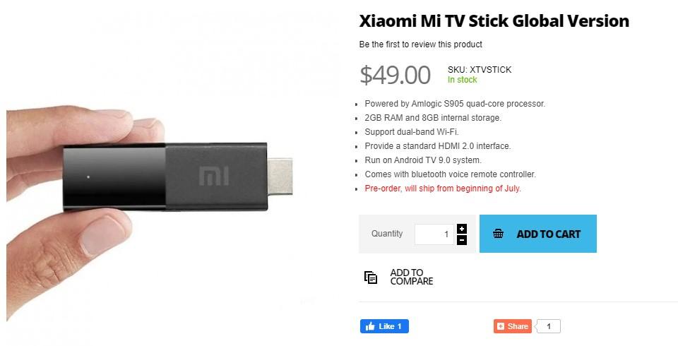支持4K HDR的小米Mi电视棒可在Giztop上以39美元的价格购买