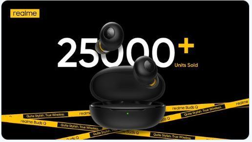 Realme在印度首日销售时售出25,000多套Buds Q TWS