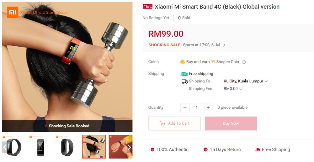 Redmi Band在马来西亚被列为Mi Smart Band 4C