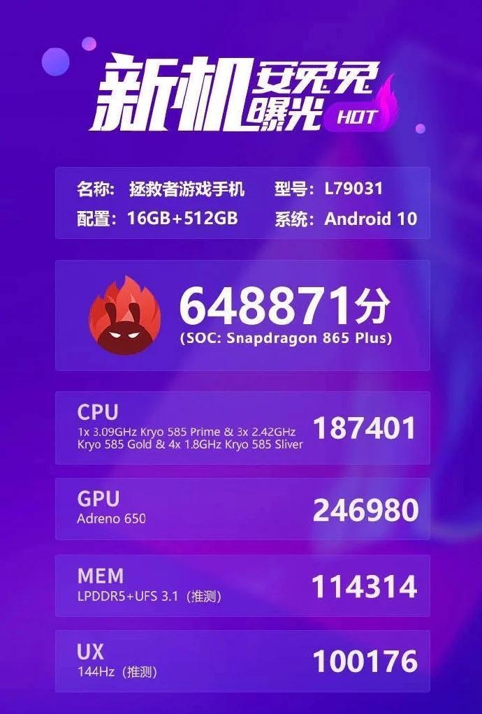 联想Legion游戏手机AnTuTu上市揭示了Snapdragon 865 Plus,16GB RAM和648K +得分
