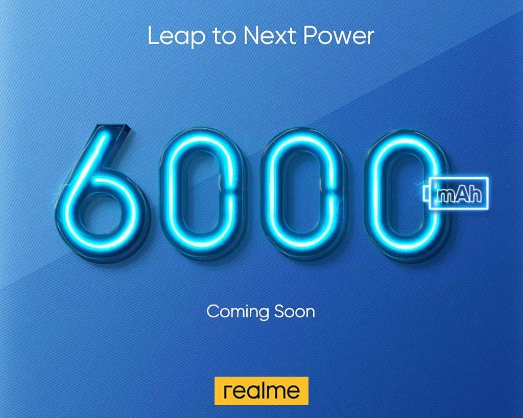 Realme嘲笑即将推出的6000mAh电池包装型号