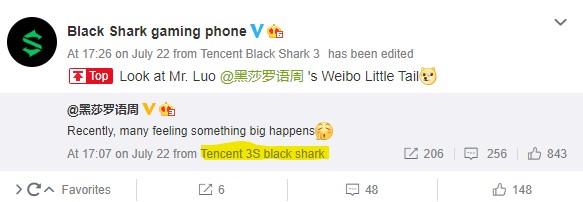 首席执行官嘲笑黑鲨3S;可能还会配备Snapdragon 865+