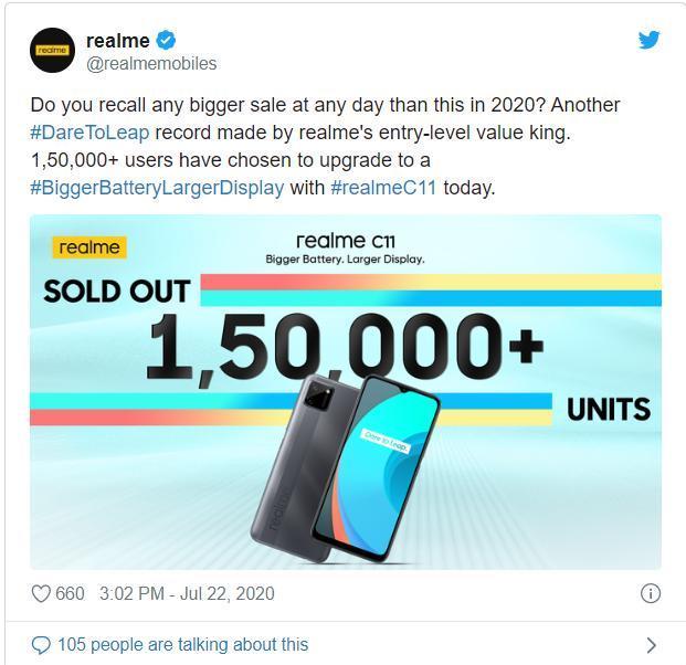 Realme在印度首次发布的2分钟内售出了超过15万个C11单元