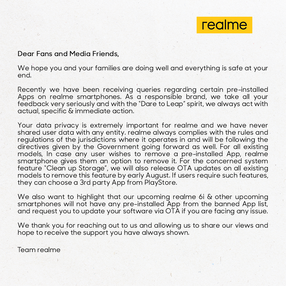 Realme发布有关被禁止的应用和数据隐私的声明