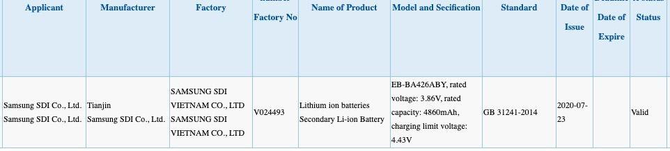 配备5,000mAh EB-BA426ABY电池的3C上出现了Galaxy A42 4G / 5G