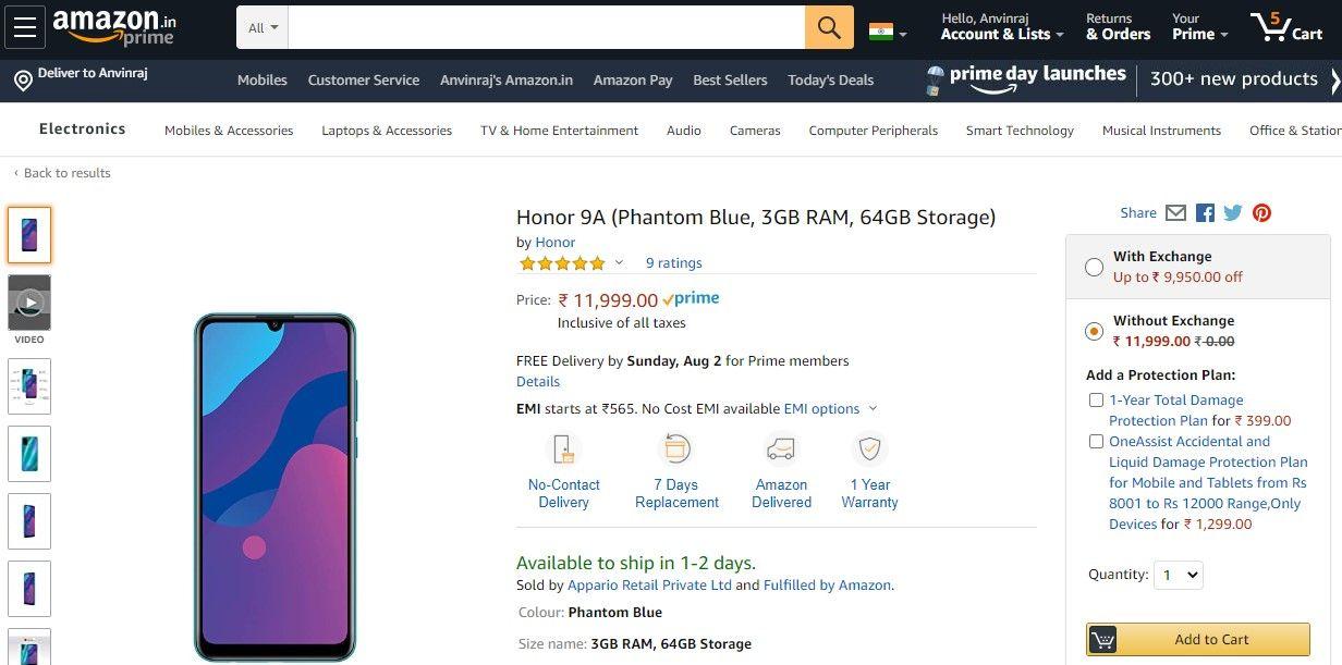 荣耀9A在Rs亚马逊印度上市。在7月31日推出之前11,999(〜$ 160)