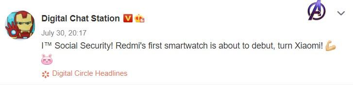 泄漏显示Redmi智能手表即将推出