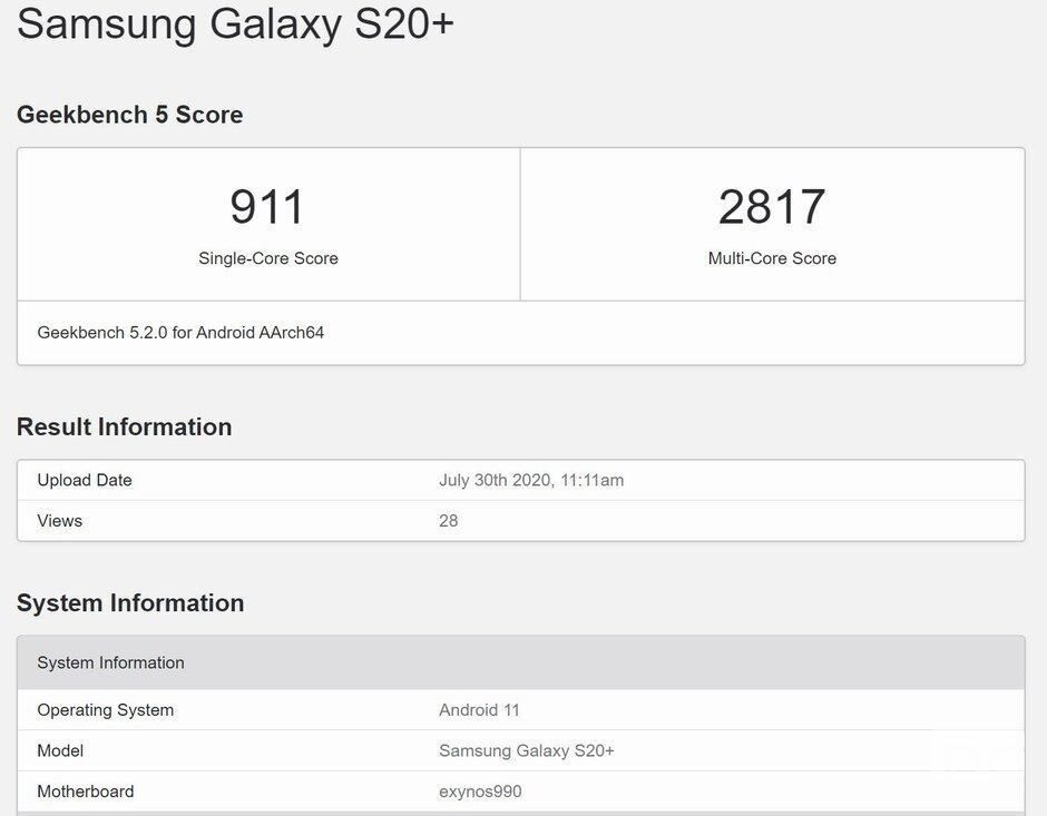 三星Galaxy S20 +出现在运行Android 11的Geekbench上