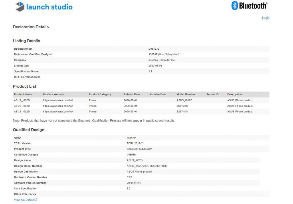 出现ASUS ZenFone 7(Pro)蓝牙SIG列表;发射可能快要结束了