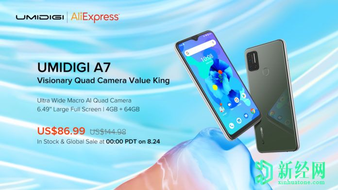 配备6.49英寸显示屏的Umidigi A7智能手机和AI-Quad摄像头的售价为89.99美元