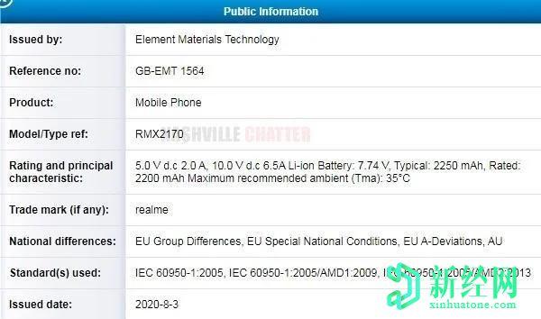 传闻Realme X3 Pro在TUV认证中具有65W快速充电能力