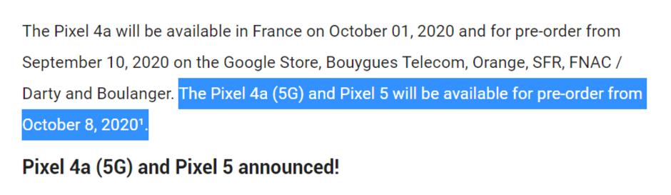 Google Pixel 5,Pixel 4a(5G)的发布日期可能是10月8日