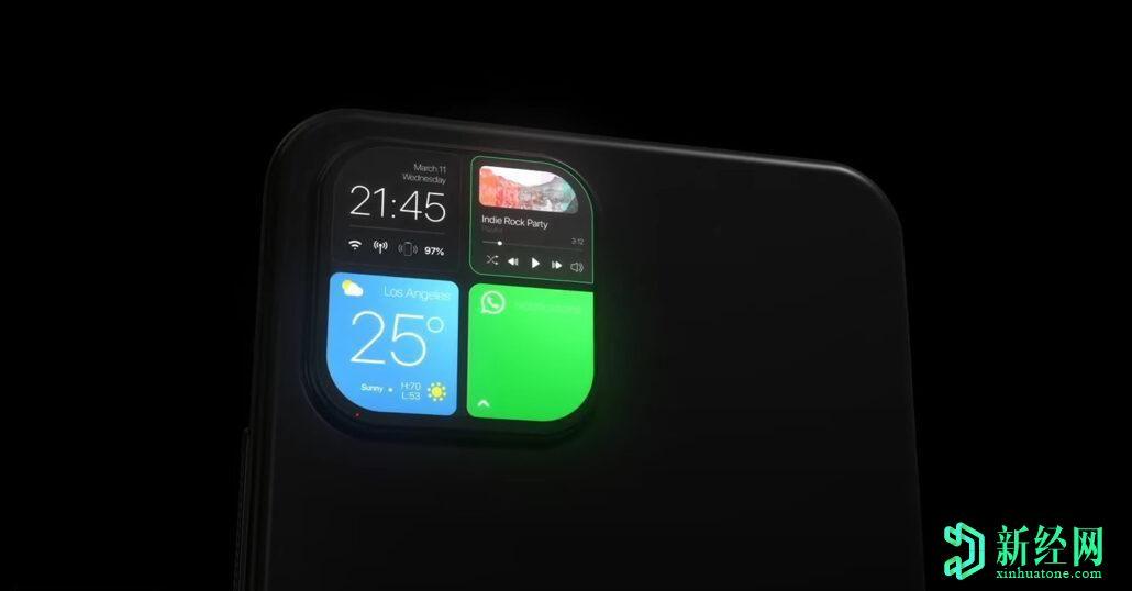 背面的iPhone相机系统可以作为最新概念的辅助展示和通知中心