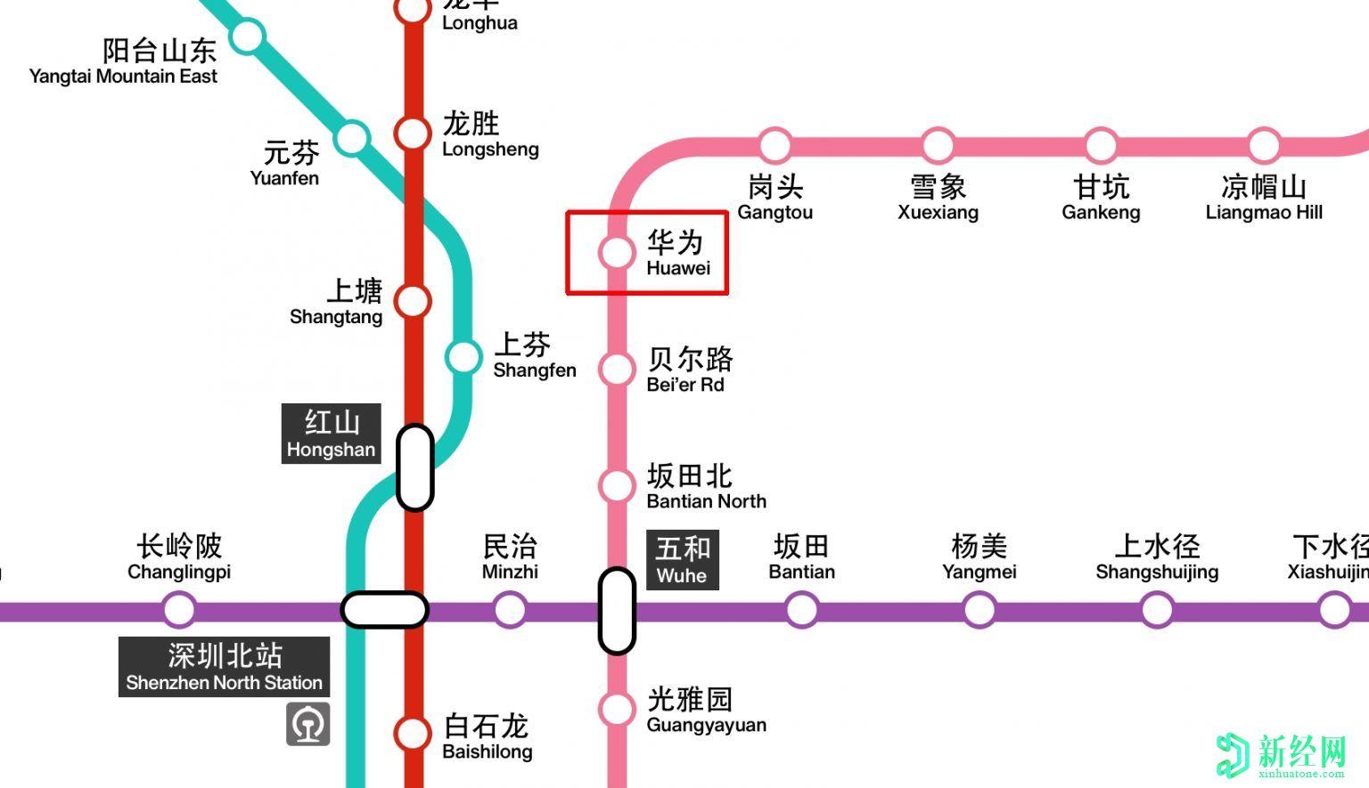 华为现在在深圳的新地铁线中有一个以它命名的车站