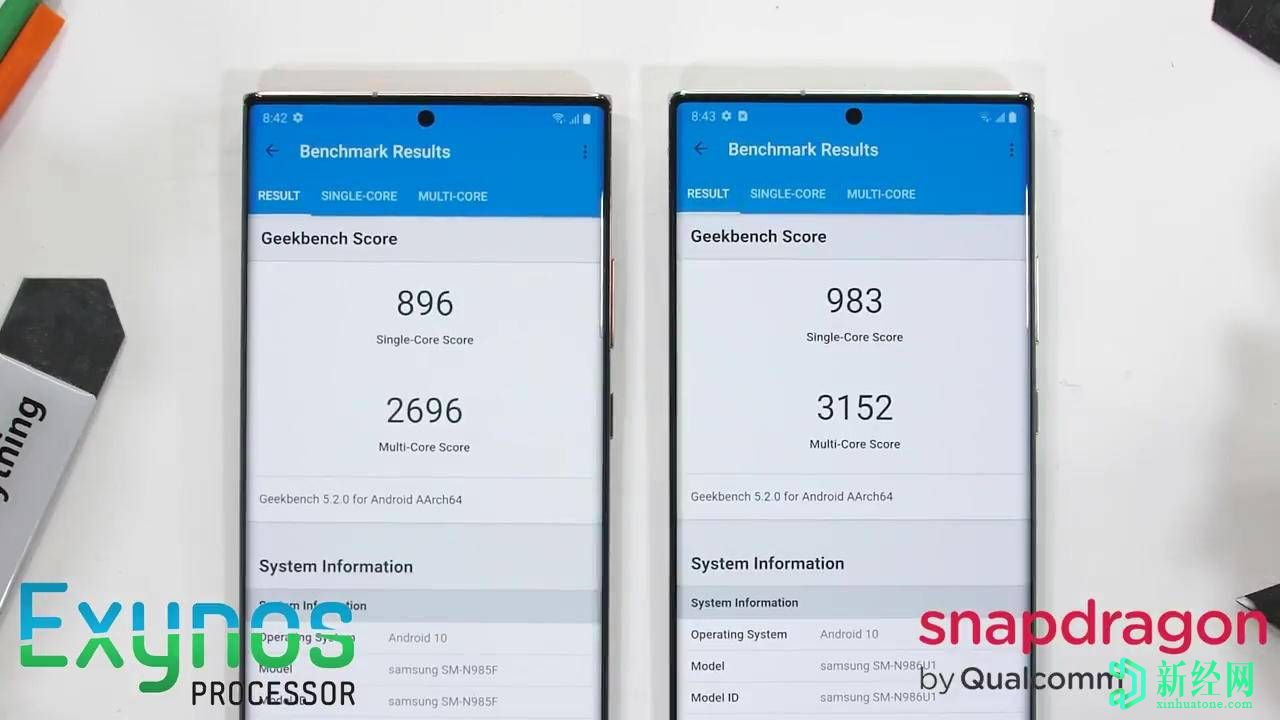 三星Galaxy  Note  20 Ultra  Exynos,Snapdragon型号仍然存在性能差距