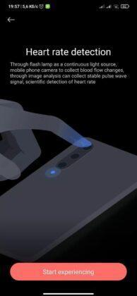 MIUI  Health应用程序的心率监测功能使用手机的摄像头和LED闪光灯
