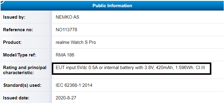 Realme Watch S和S Pro获得认证;即将推出