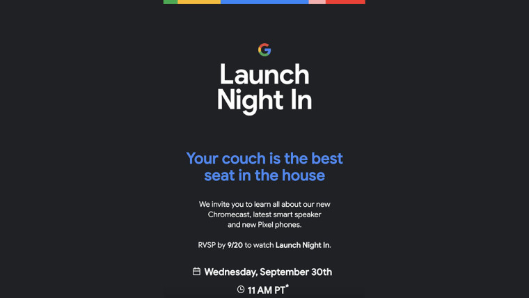 谷歌发出9月30日硬件活动邀请