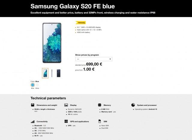 三星Galaxy S20 FE在斯洛伐克斯洛伐克上市,售价为700欧元