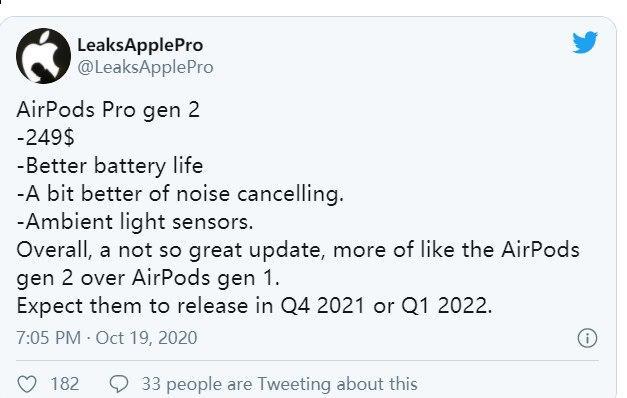 苹果AirPods Pro 2价格和发布日期泄露揭示了一些消息