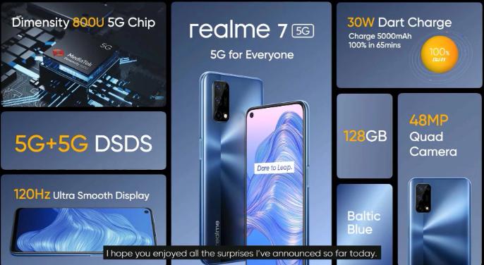 Realme 7 5G推出!这是功能和价格