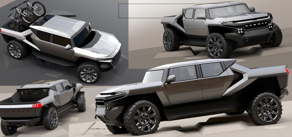 2022年GMC悍马EV官方草图展示了完全不同的外观
